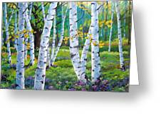 Alpine Flowers And Birches  Greeting Card