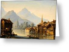 Alpine Lake Scenery With City View Greeting Card