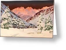 Alpine Mountain Scene Greeting Card