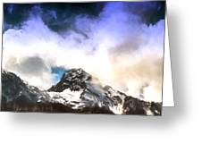 Alpine Mountains And Clouds Watercolour Greeting Card