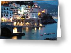 Amalfi Coast At Night Greeting Card