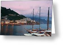 Amalfi Harbor Sunset Greeting Card