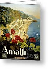 Amalfi Italy Italia Vintage Poster Restored Greeting Card