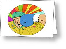 Amateur Boxer Hit By Glove Punch Oval Drawing Greeting Card