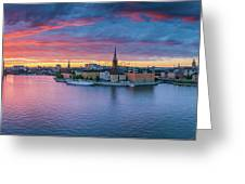 Dramatic Sunset Over Stockholm Greeting Card