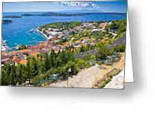 Amazing Historic Town Of Hvar Aerial View Greeting Card