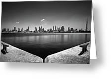 Amazing Panorama Reflection Of Dubai Jumeirah Beach, Dubai, United Arab Emirates Greeting Card