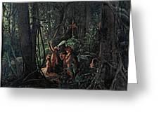 Amazonian Indians Worshiping The Sun God Greeting Card