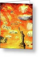 America At Sunset  Greeting Card