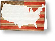 America Rustic Map On Wood Greeting Card