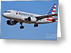 American Airlines Plane Preparing To Land At The Bwi Airport Greeting Card