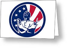 American Barber Usa Flag Icon Greeting Card