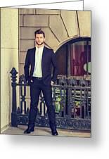 American Businessman With Beard Working In New York Greeting Card