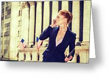 American Businesswoman Working In New York Greeting Card