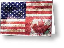 American Canadian Tattered Flag Greeting Card