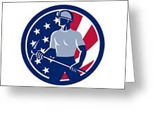 American Coal Miner Usa Flag Icon Greeting Card
