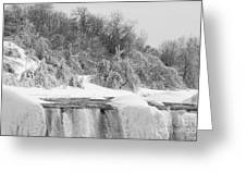 American Falls In Winter In Black And White Greeting Card