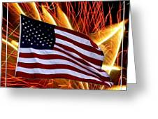 American Flag And Fireworks Greeting Card