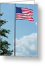 American Flag Flying Proud Greeting Card