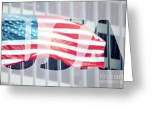 American Flag In Front Of Business Building  Greeting Card