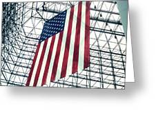 American Flag In Kennedy Library Atrium - 1982 Greeting Card
