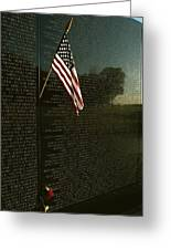 American Flag Left At The Vietnam Greeting Card by Medford Taylor