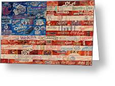 American Flag - Made From Vintage Recycled Pop Culture Usa Paper Product Wrappers Greeting Card