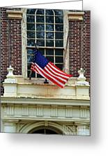 American Flag On An Old Building Greeting Card