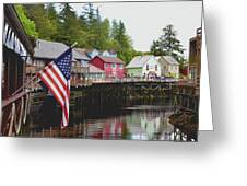 American Flag On Creek Street Ketchikan Alaska Greeting Card