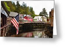 American Flag On Creek Street Ketchikan Alaska Painting Greeting Card
