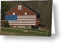 American Flag Painted On The Side Greeting Card