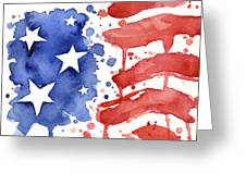 American Flag Watercolor Painting Greeting Card by Olga Shvartsur