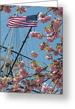 American Flag With Cherry Blossoms Greeting Card