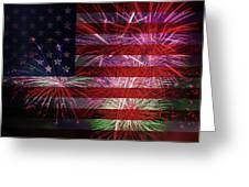 American Flag With Fireworks Display Greeting Card