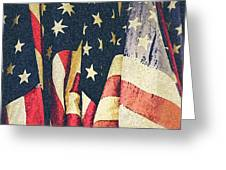 American Flags Painted Square Format Greeting Card