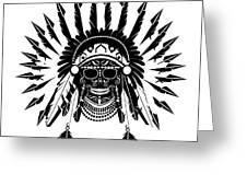 American Indian Skull Icon Background, Black And White  Greeting Card