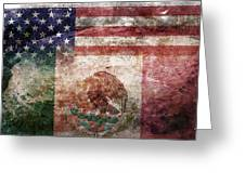 American Mexican Tattered Flag  Greeting Card