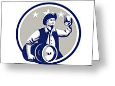 American Patriot Carry Beer Keg Circle Retro Greeting Card