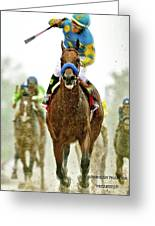 American Pharoah And Victor Espinoza Win The 2015 Preakness Stakes. Greeting Card