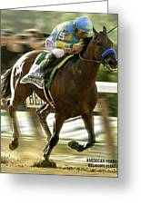 American Pharoah And Victory Espinoza Win The 2015 Belmont Stakes Greeting Card