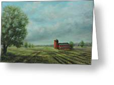 American Scene Red Barn  Greeting Card by Katalin Luczay
