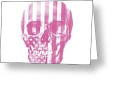 American Skull Pink Greeting Card