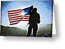American Soldier With Flag Greeting Card