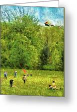 Americana - People - Let's Go Fly A Kite Greeting Card by Mike Savad