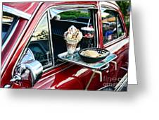 Americana - The Car Hop Greeting Card by Paul Ward