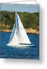 America's Cup 12 Meter Sailboat Newport Ri Greeting Card