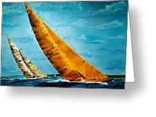 Americas Cup Sailboat Race Greeting Card