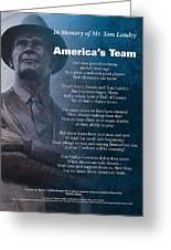 America's Team Poetry Art Greeting Card