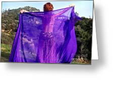 Ameynra Belly Dance. Purple Veil Greeting Card