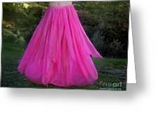 Ameynra Design Pink Chiffon Petal Skirt Greeting Card